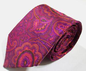 ETRO Paisley Signature Pattern Purple Color Woven Silk Necktie Tie