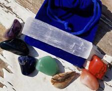 7pc Chakra Alignment Tumble Crystal Set Selenite Charging Stick Gray Velvet Bag