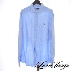 BIG GUYS Polo Ralph Lauren Sea Blue 100% Linen Slub Summer Button Down Shirt XXL