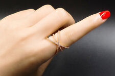 18k Gold Ring made w/ Swarovski Crystal Pave Stone Cross Index Finger Size 9