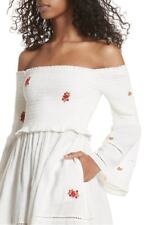 NWT $148 Free People Counting Daisies Embroidered Off-The-Shoulder Dress Ivory