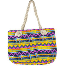 Print Tote Beach Bag Lux Accessories Women's Colorful Zig-Zag