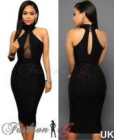 Ladies Women Midi Dress Black Celeb Party Bodycon Evening Pencil UK Size 8 10 S