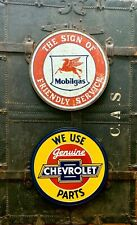 metal tin sign combo Mobile Service / Chevy Parts man cave shop wall decor