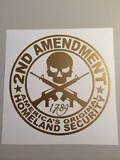 2ND AMENDMENT GUN* vinyl decal sticker Truck Diesel hunting 9X9 funny GOLD