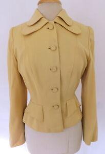 Vintage40s 1940s Golden Yellow Gabardine Wool Double Collar Wasp Blazer S/M