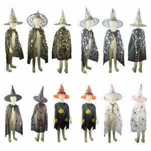 Kinder Halloween Hexe Kostüm Zauberer Umhang Cape mit Hut  Karneval Party Kostüm