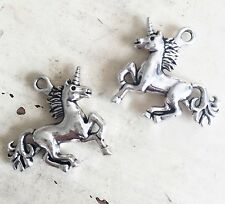 Set of 2 Antique Silver Plated Pretty Unicorn Charms Jewellery Pendant Charm 3D
