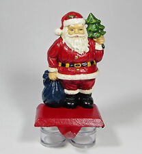 "Vintage Cast Iron Santa Claus 6.5"" Stocking Hanger Christmas Tree Blue Sack"
