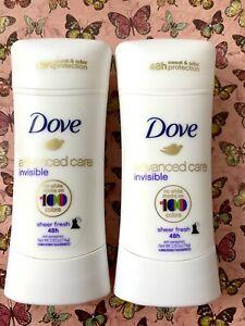 2 X Dove Advanced Care Invisible SHEER FRESH 48HR Antiperspirant-2.6oz. Each