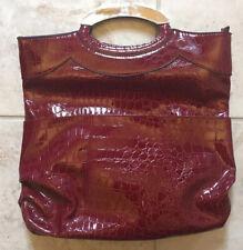 New York & Co Red Pleather Purse Handbag Metal Handles Textured