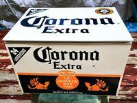 Vintage Corona Extra Metal Chest Box - 24 Longneck Case - Ice Chest Cooler