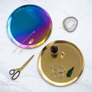 Metal Storage Tray Oval Tray Snack Fruit Cosmetics Jewelry Organizer Collect US