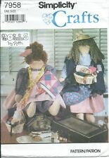 """S 7958 sewing pattern 20"""" Rag DOLL & CLOTHES sew Quilter/Sewer primitive Peddler"""