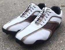 New listing Footjoy Superlites White Brown Leather Waterproof Golf Shoes 58092 Men's Sz 8.5
