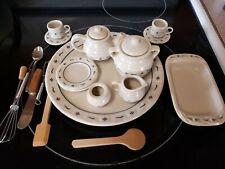 14 Pcs. Longaberger Cc Miniature Pottery Tea Set/Cookie Jar/Baking Dish