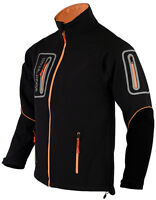 Mens Black Soft shell Pro Jacket Windproof  Long Sleeves 4 Zip Pockets Size XL