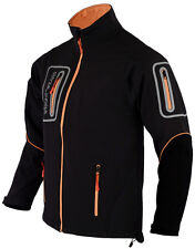 Mens Black Softshell Pro Jacket Long Sleeves 4 Zip Pockets Size Large