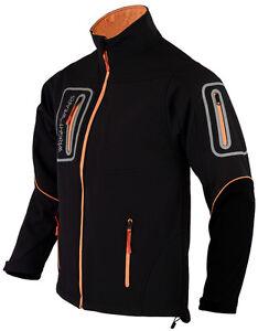 Men Black Soft shell Pro Jacket Waterproof Long Sleeves 4 Zip Pocket Size Medium