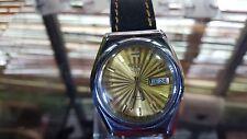 Vintage Seiko 5 Wrist Watch gold dial men's 21J Auto + Seiko Case