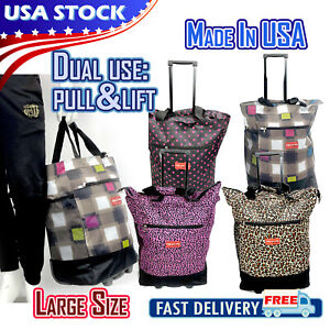 """19"""" Rolling Wheeled Duffle Bag Trolley Bag Tote Carry On Luggage Travel Suitcase"""