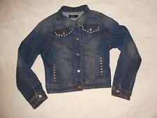 EARL JEAN  Denim Jacket Coat Medium Rhinestone Buttons & Trim EUC