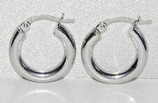 9CT WHITE GOLD PLAIN CREOLE HOOP EARRINGS -