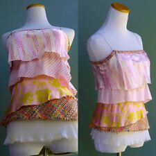 Poleci Silk Tiered Top Multi Color Summer Blouse Textured Fabric Pastel Pink S 2