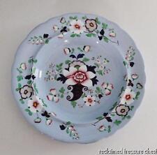 "Antique William Ridgway Earthenware Rimmed Soup Bowl 10"" Blue Enamel Flower 1830"