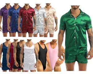 Men Silk Satin Pajamas Set Short Sleeves Top and Bottom Boxer Shorts Shirt Set