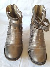 """Free People """"Hybrid"""" Strappy Boots distressed Silver Leather Women's EUR Size 37"""