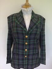 LADIES WOOL MIX BLUE GREEN CHECK LEAD REIN JACKET SIZE 12