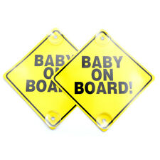 """Luxxii (2 Pack) 6"""" x 6"""" Baby on Board Yellow Safety Sign with Suction Cup"""