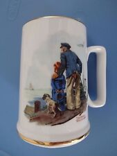 Norman Rockwell Collectible Porcelain Tankard Mug Looking Out To Sea 1985 Mint
