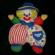 "13"" VINTAGE BERCHET BABY CLOWN RED BLUE STUFFED ANIMAL PLUSH TOY RUBBER FACE"