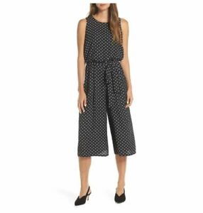 Vince Camuto Womens Cropped Wide-Leg Black/White Polka Dot Jumpsuit Size 16 NEW