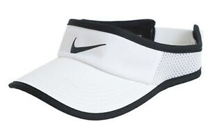 Nike Women Aerobill Visor Caps Hat White Black GYM Golf Dri-Fit Cap 899656-100
