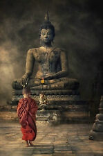 Framed Print - Young Monk Boy Walking up to Buddha (Picture Poster Tibetan Art)