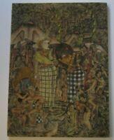 VINTAGE BALI PAINTING MASTERFUL FOLK ART TROPICAL LANDSCAPE FIGURES VILLAGE OLD