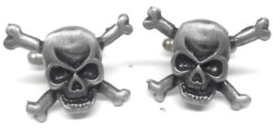 PEWTER SKULL AND BONES CUFFLINKS MANUFACTURERS DIRECT PRICING