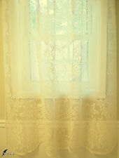 Victorian Rose Panel Curtain 60x62 Ivory White Heritage Lace