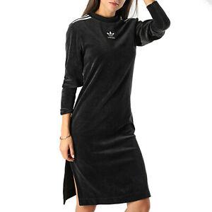 adidas Originals Women's Velour Sweatshirt Dress Black Velvet Split Hem XS S