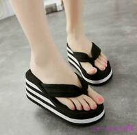 Women's Ladies Platform Wedge Heel Slippers Flip Flops Summer Beach Shoes Casual