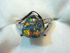 Opal Ring Ladies Sterling Silver 925 & CZ, 10 x 10mm Trillion Triplet. #070185