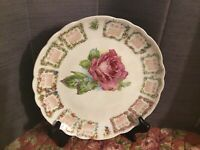 """Antique Calendar Plate Year 1909, 9"""" With Pink Rose And Green Leaves In Middle"""