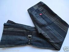 Hose Miss Sixty 26  braun grau Streifen Design Bänder Kunstleder schwarz/K253
