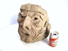 UNUSUAL LARGE NATIVE AMERICAN INDIAN FIGURAL HEAD SCULPTURE STATUE ART SIGNED!