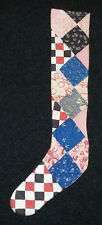 PRIMITIVE ANTIQUE CUTTER QUILT LONG Skinny Christmas Stockings! BLUE/RED/BLACK