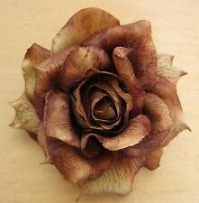 "Large 5"" Variegated Brown Rose Silk Flower Hair Clip, Wedding, Prom, Dance, Prom"