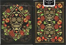 Calaveras de Azúcar Black Playing Cards Poker Size Deck USPCC Custom Limited New